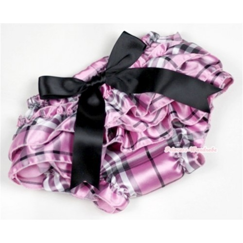 Light Pink Checked Satin Layer Panties Bloomers With Black Big Bow BC127