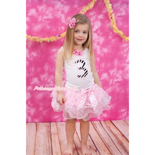 White Tank Top With Hot Pink White Dots White Lacing & 3rd Zebra Birthday Number Print with Light Hot Pink Dots Bow Hot Pink White Dots Waist Light Pink White Petal Pettiskirt MG1086