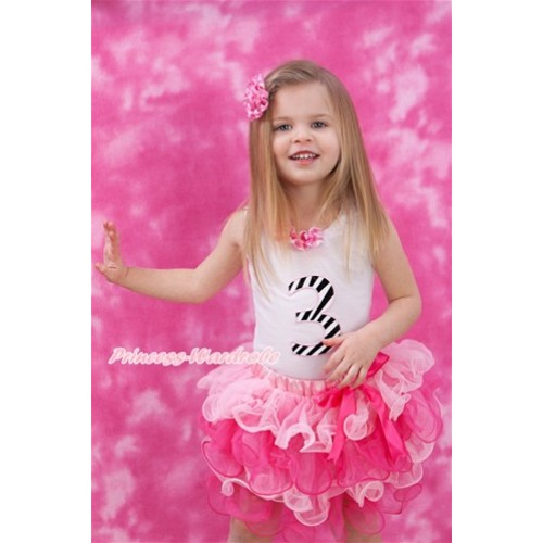 White Tank Top With Hot Pink White Dots White Lacing & 3rd Zebra Birthday Number Print with Hot Pink Bow Light Hot Pink Petal Pettiskirt MG1087
