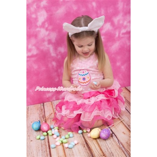 Easter Light Pink White Dots Baby Pettitop with Light Pink Chiffon Lacing & Easter Egg Print with Hot Pink Bow Light Hot Pink Petal Baby Pettiskirt NP062