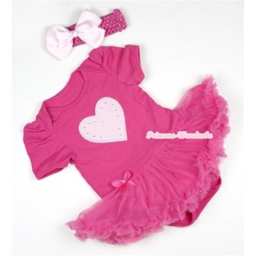 Hot Pink Baby Jumpsuit Hot Pink Pettiskirt With Light Pink Heart Print With Hot Pink Headband Light Pink Silk Bow JS383