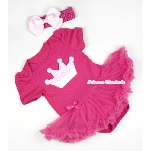 Hot Pink Baby Jumpsuit Hot Pink Pettiskirt With Crown Print With Hot Pink Headband Light Pink Silk Bow JS384