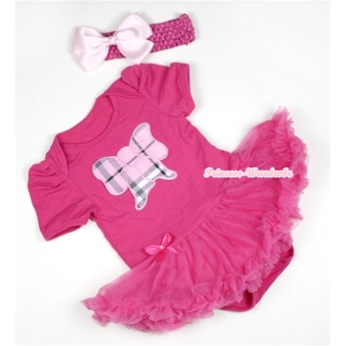 Hot Pink Baby Jumpsuit Hot Pink Pettiskirt With Light Pink Checked Butterfly Print With Hot Pink Headband Light Pink Silk Bow JS396