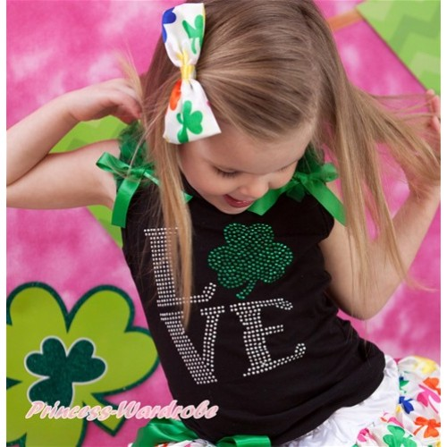 St Patrick's Day Black Tank Top With Kelly Green Ruffles & Bow & Sparkle Bling Rhinestone Love Clover Print TB696