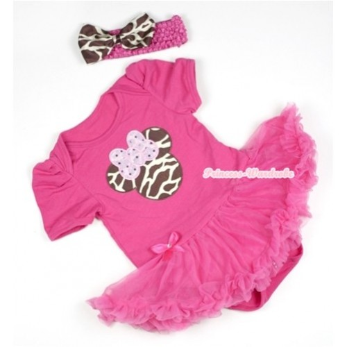 Hot Pink Baby Jumpsuit Hot Pink Pettiskirt With Brown Giraffe Minnie Print With Hot Pink Headband Giraffe Satin Bow JS391