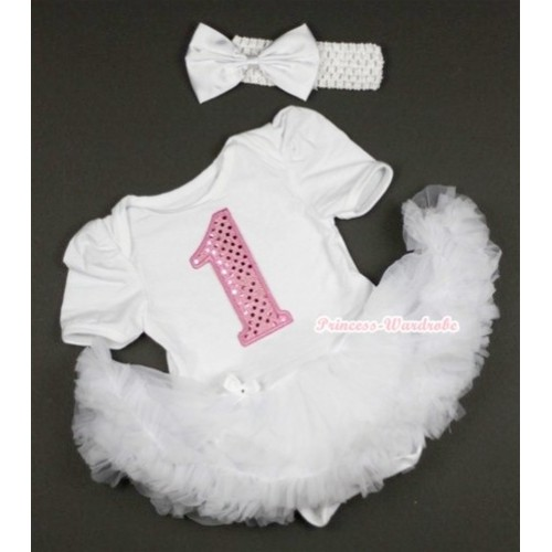 White Baby Jumpsuit White Pettiskirt With 1st Sparkle Light Pink Birthday Number Print With White Headband White Satin Bow JS406
