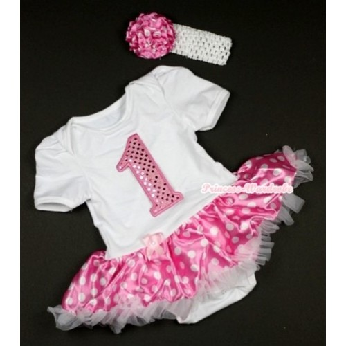 White Baby Jumpsuit Hot Pink White Dots Pettiskirt With 1st Sparkle Light Pink Birthday Number Print With White Headband Hot Pink White Dots Rose JS433