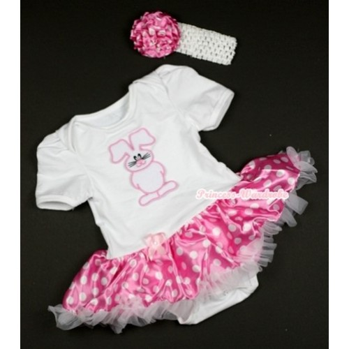 White Baby Jumpsuit Hot Pink White Dots Pettiskirt With Bunny Rabbit Print With White Headband Hot Pink White Dots Rose JS436