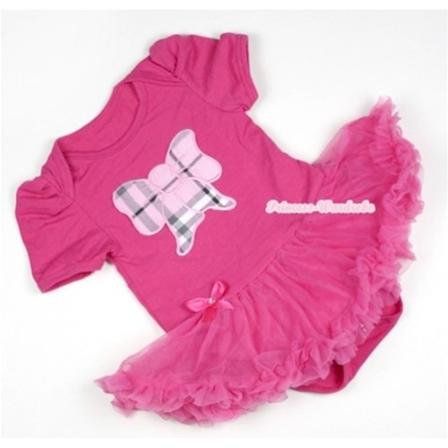 Hot Pink Baby Jumpsuit Hot Pink Pettiskirt with Light Pink Checked Butterfly Print JS328
