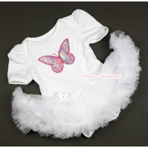 White Baby Jumpsuit White Pettiskirt with Rainbow Butterfly Print JS340