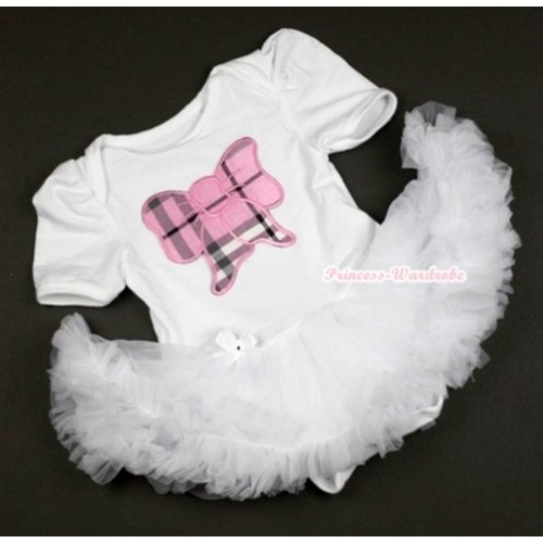 White Baby Jumpsuit White Pettiskirt with Light Pink Checked Butterfly Print JS344