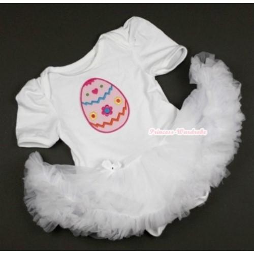 White Baby Jumpsuit White Pettiskirt with Easter Egg Print JS346