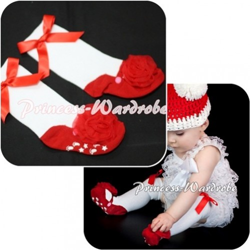 Lovely Red Shoes Socks with Ribbon and Rose SK50
