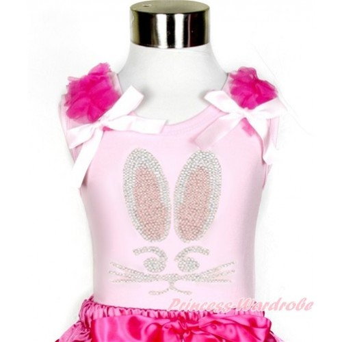 Easter Light Pink Tank Top With Hot Pink Ruffles & Light Pink Bow With Sparkle Crystal Bling Rhinestone Bunny Rabbit Print TP69