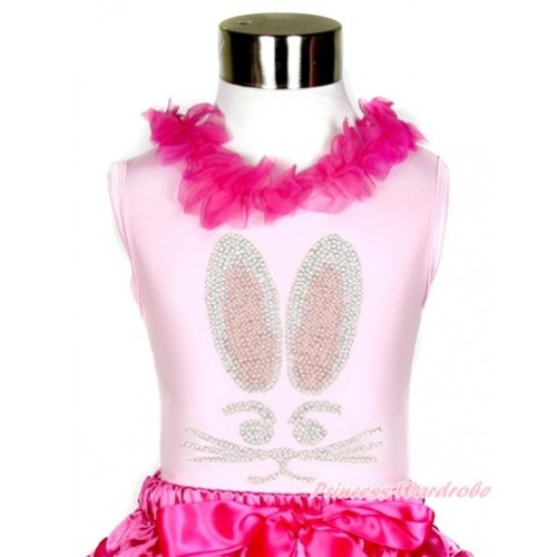 Easter Light Pink Tank Tops with Hot Pink Chiffon Lacing with Sparkle Crystal Bling Rhinestone Bunny Rabbit Print TP72