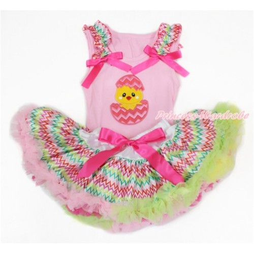 Easter Light Pink Baby Pettitop with Rainbow Wave Ruffles & Hot Pink Bow with Chick Egg Print with Rainbow Wave Newborn Pettiskirt BG131