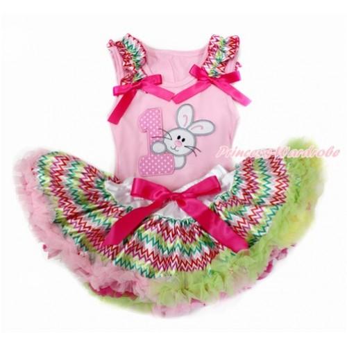 Easter Light Pink Baby Pettitop with Rainbow Wave Ruffles & Hot Pink Bow with 1st Light Pink White Dots Birthday Number & Bunny Rabbit Print with Rainbow Wave Newborn Pettiskirt BG134