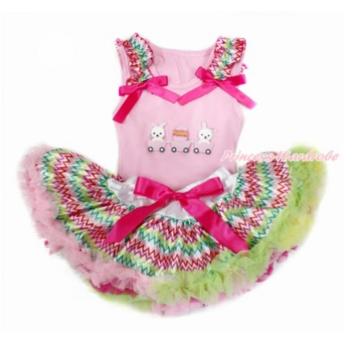 Easter Light Pink Baby Pettitop with Rainbow Wave Ruffles & Hot Pink Bow with Bunny Rabbit Egg Print with Rainbow Wave Newborn Pettiskirt BG135