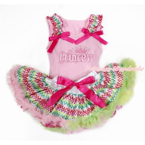 Light Pink Baby Pettitop with Rainbow Wave Ruffles & Hot Pink Bow with Princess Print with Rainbow Wave Newborn Pettiskirt BG137