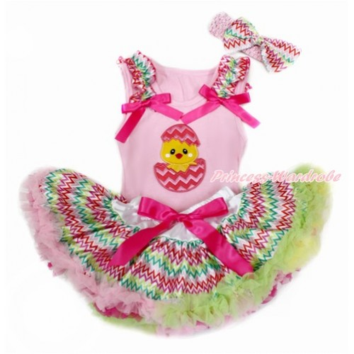 Easter Light Pink Baby Pettitop with Rainbow Wave Ruffles & Hot Pink Bows with Chick Egg Print & Rainbow Wave Newborn Pettiskirt With Light Pink Headband Rainbow Wave Satin Bow BG139