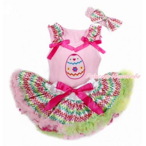Easter Light Pink Baby Pettitop with Rainbow Wave Ruffles & Hot Pink Bows with Easter Egg Print & Rainbow Wave Newborn Pettiskirt With Light Pink Headband Rainbow Wave Satin Bow BG140