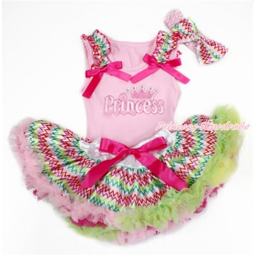 Light Pink Baby Pettitop with Rainbow Wave Ruffles & Hot Pink Bows with Princess Print & Rainbow Wave Newborn Pettiskirt With Light Pink Headband Rainbow Wave Satin Bow BG145