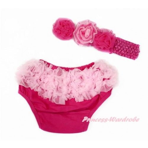 Light Pink Ruffles Hot Pink Panties Bloomers & Hot Pink Headband Hot Light Pink Mixed Rose BA19