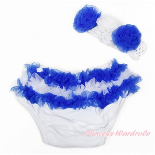 Greece Royal Blue White Ruffles World Cup Panties Bloomers & White Headband Royal Blue White Rose BA20