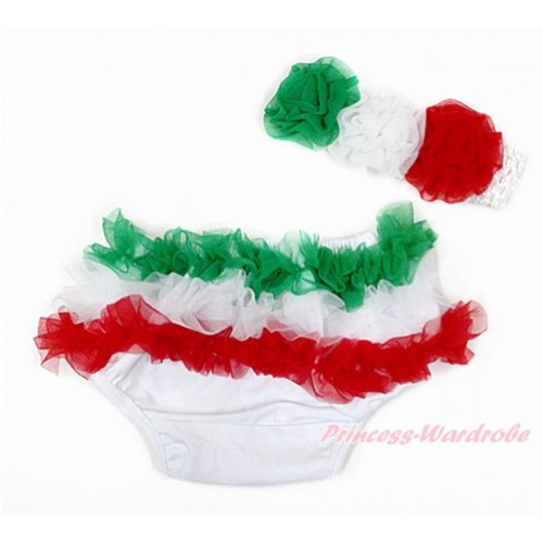 Italy Green White Red Ruffles World Cup Panties Bloomers & White Headband Green White Red Rose BA22