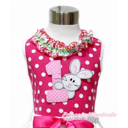 Easter Hot Pink White Dots Tank Tops with Rainbow Wave Lacing with 1st Light Pink White Dots Birthday Number & Bunny Rabbit Print TP192