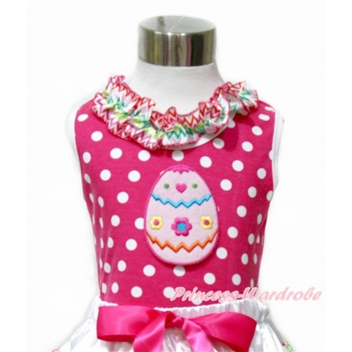 Easter Hot Pink White Dots Tank Tops with Rainbow Wave Lacing with Easter Egg Print TP198