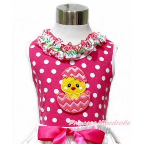 Easter Hot Pink White Dots Tank Tops with Rainbow Wave Lacing with Chick Egg Print TP199