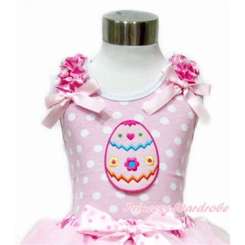 Easter Light Pink White Dots Tank Top With Hot Pink White Dots Ruffles & Light Pink Bow With Easter Egg Print TP202