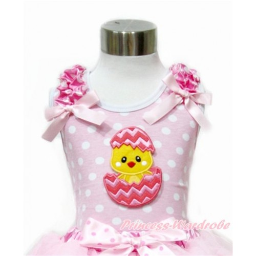 Easter Light Pink White Dots Tank Top With Hot Pink White Dots Ruffles & Light Pink Bow With Chick Egg Print TP204