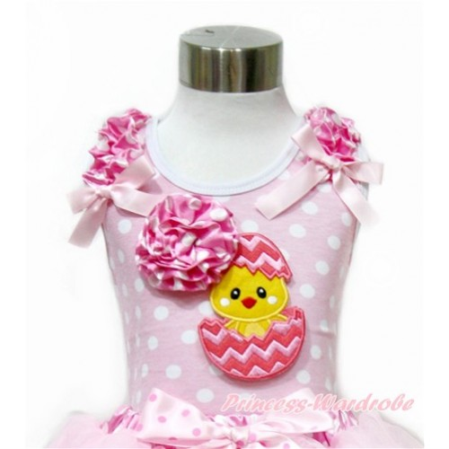 Easter Light Pink White Dots Tank Top With Hot Pink White Dots Ruffles & Light Pink Bow With 3D Hot Pink White Dots Rose Chick Egg Print TP205