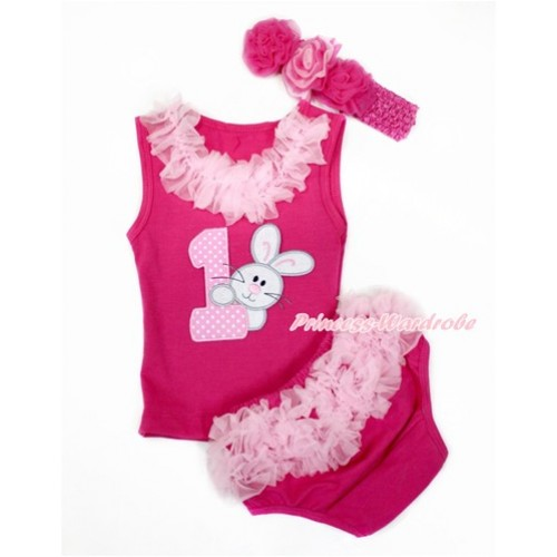 Easter Hot Pink Baby Pettitop & Light Pink Chiffon Lacing & 1st Light Pink White Dots Birthday Number & Bunny Rabbit Print with Light Pink Ruffles Hot Pink Panties Bloomers with Hot Pink Headband Hot Light Pink Mixed Rose LD272