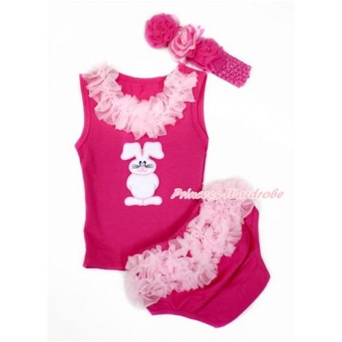 Easter Hot Pink Baby Pettitop & Light Pink Chiffon Lacing & Bunny Rabbit Print with Light Pink Ruffles Hot Pink Panties Bloomers with Hot Pink Headband Hot Light Pink Mixed Rose LD273
