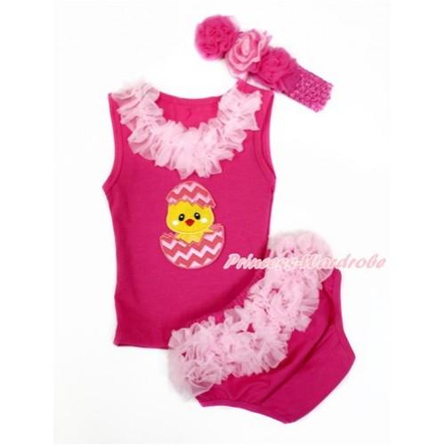 Easter Hot Pink Baby Pettitop & Light Pink Chiffon Lacing & Chick Egg Print with Light Pink Ruffles Hot Pink Panties Bloomers with Hot Pink Headband Hot Light Pink Mixed Rose LD275