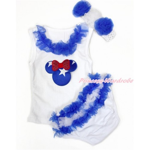 World Cup White Baby Pettitop & Royal Blue Chiffon Lacing & Patriotic American Minnie Print with Greece Royal Blue White Ruffles White Panties Bloomers with White Headband Royal Blue White Rose LD277