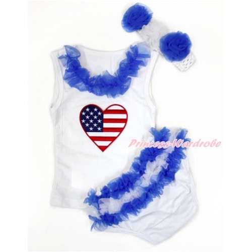 World Cup White Baby Pettitop & Royal Blue Chiffon Lacing & Patriotic American Heart Print with Greece Royal Blue White Ruffles White Panties Bloomers with White Headband Royal Blue White Rose LD278