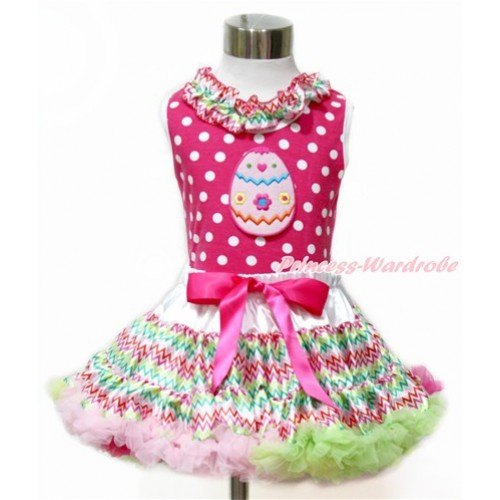 Easter Hot Pink White Dots Tank Top With Rainbow Wave Satin Lacing With Easter Egg Print with Rainbow Wave Pettiskirt MH173