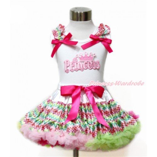 White Tank Top with Rainbow Wave Ruffles & Hot Pink Bow with Princess Print & Rainbow Wave Pettiskirt MG1093