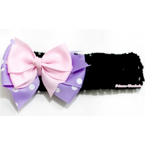 Black Headband with Light Pink & Lavender White Dots Polka Ribbon Bow Hair  Clip H580