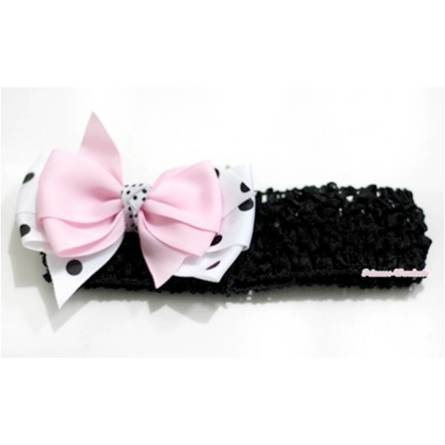 Black Headband with Light Pink & White Black Polka Dots Ribbon Bow Hair Clip H581