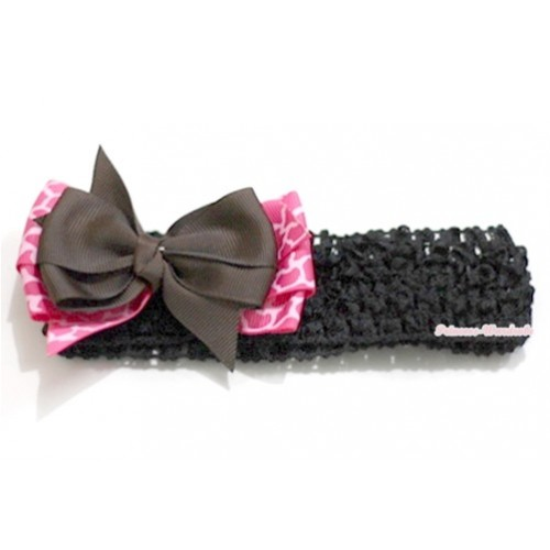 Black Headband with Brown & Hot Pink Giraffe Ribbon Hair Bow Clip H582