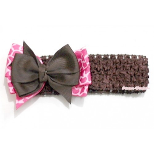 Brown Headband with Brown & Hot Pink Giraffe Ribbon Bow Hair Clip H593