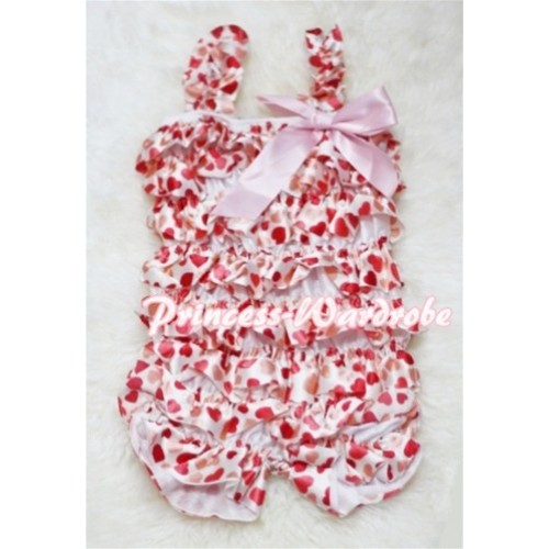 Cream White Heart Petti Romper with Straps Pink Bow LR44