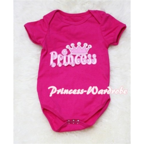 Hot Pink Baby Jumpsuit with Princess Print TH33