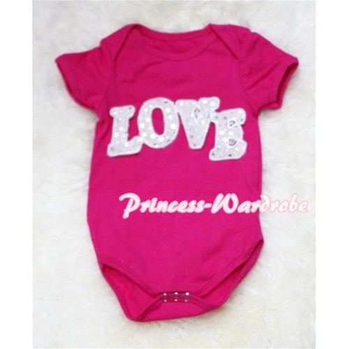 Hot Pink Baby Jumpsuit with Sparkle Love Print TH35