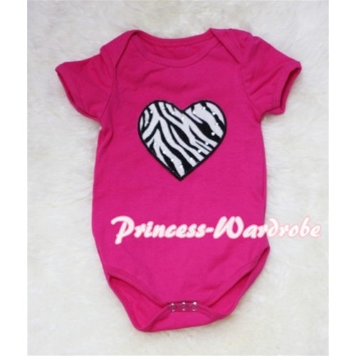 Hot Pink Baby Jumpsuit with Zebra Heart Print TH36